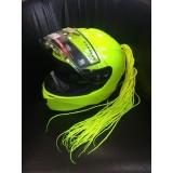 Хвост дреды на мотошлем ядовито-желтый